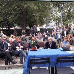 Un momento del saluto agli ospiti di Rossella Collina, presidente di Anffas Milano; la prima da sinistra, Laura Stampini (M.I.U.R Ufficio Scolastico Regionale per la Lombardia)
